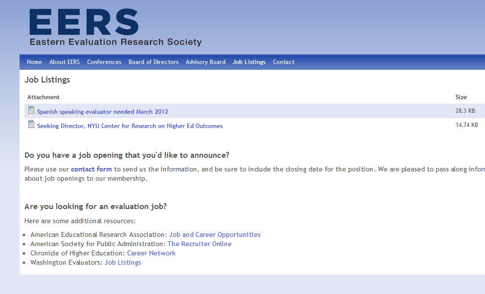 EERS job listings on website