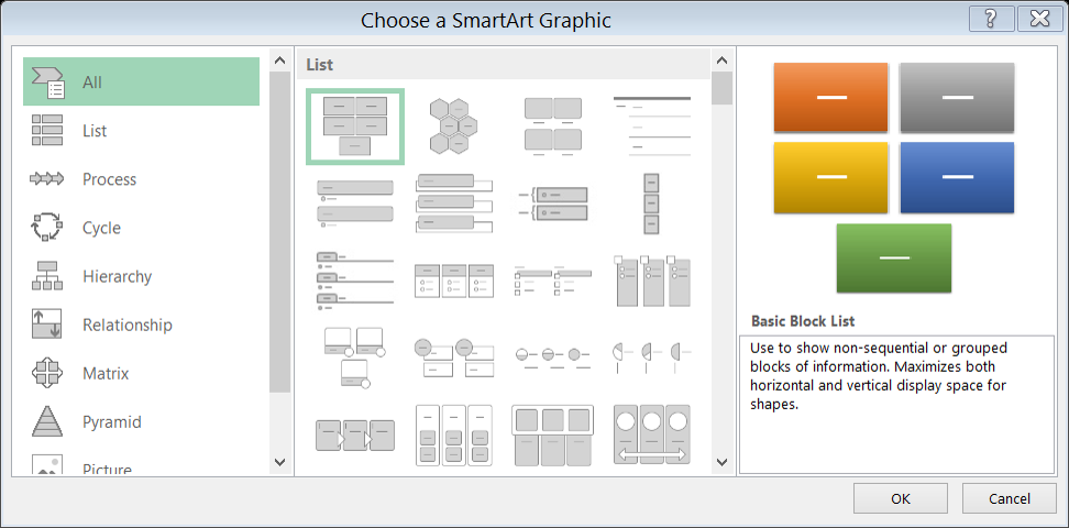 Building diagrams with Excel's SmartArt