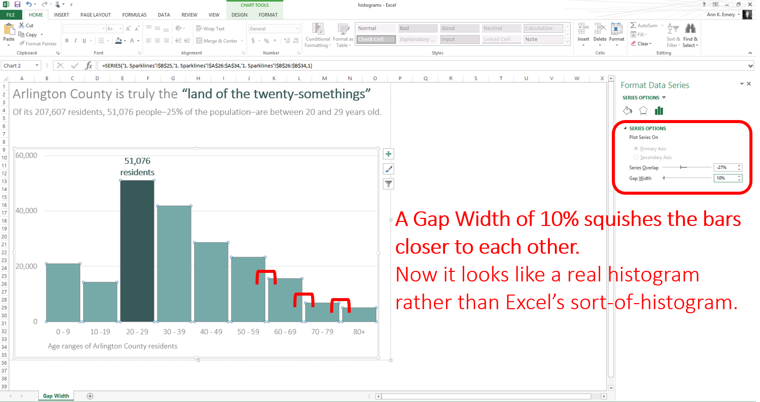 In this example, I reduced the Gap Width to 10%.