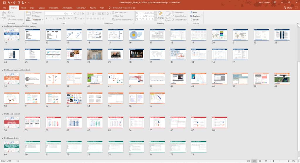 Ann K. Emery recommends creating all of your slides, grouping them into sections, and color-coding each section in a different hue. Can you spot the blue, orange, red, and green sections of the presentation? The chapter divider slides, the slide titles, and the slide footers have a solid filled background with white text.