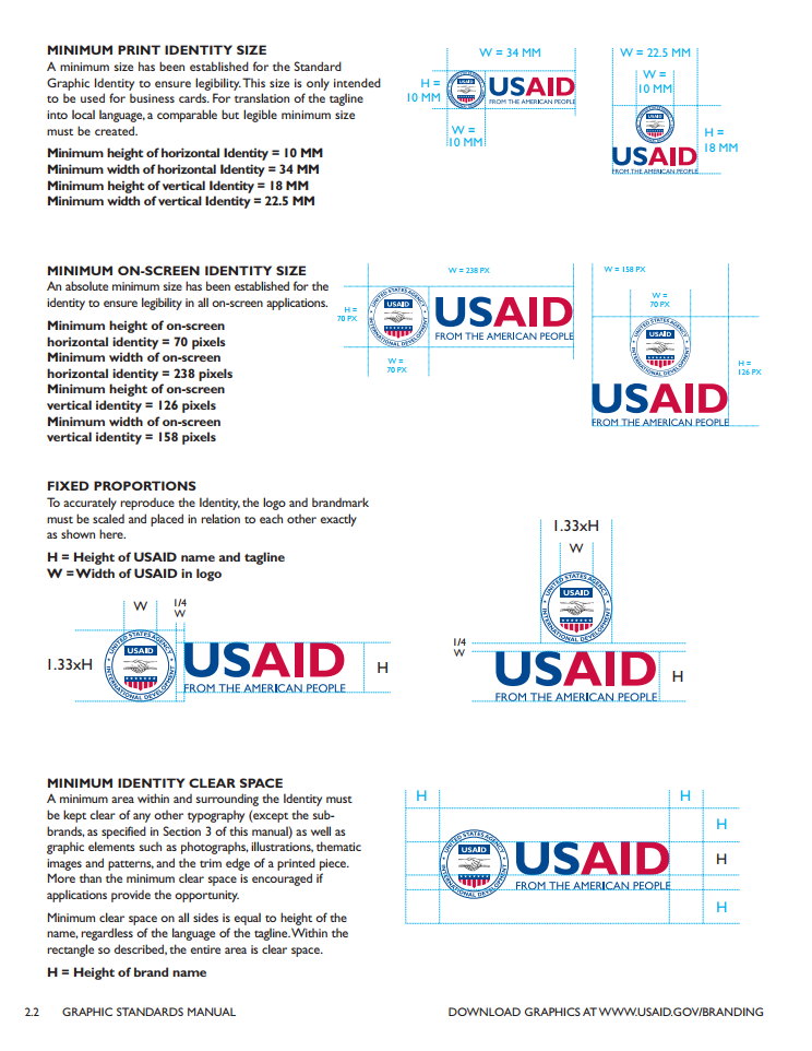 A screenshot from USAID's Graphic Standards Manual.