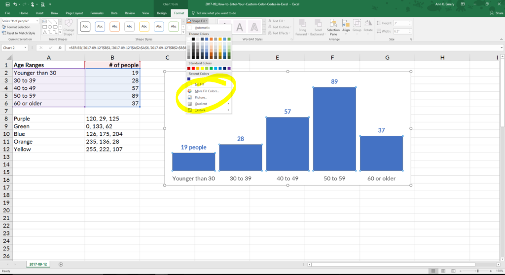 Go to Chart Tools, then Format, and then Shape Outline (line graphs) or Shape Fill (all other types of graphs, like this one). Ignore the default colors! Go to the bottom where it says More Fill Colors.