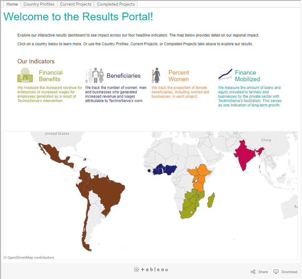 The portal includes a map of the countries and regions where TechnoServe works.